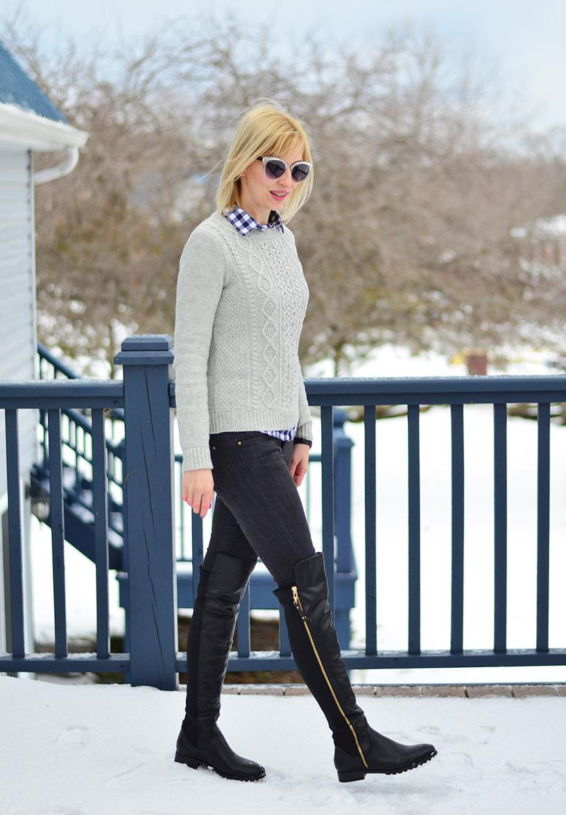 Style, OOTD, Fashion, preppy, preppy style, otk boots, jcrew style, embellished sweater,