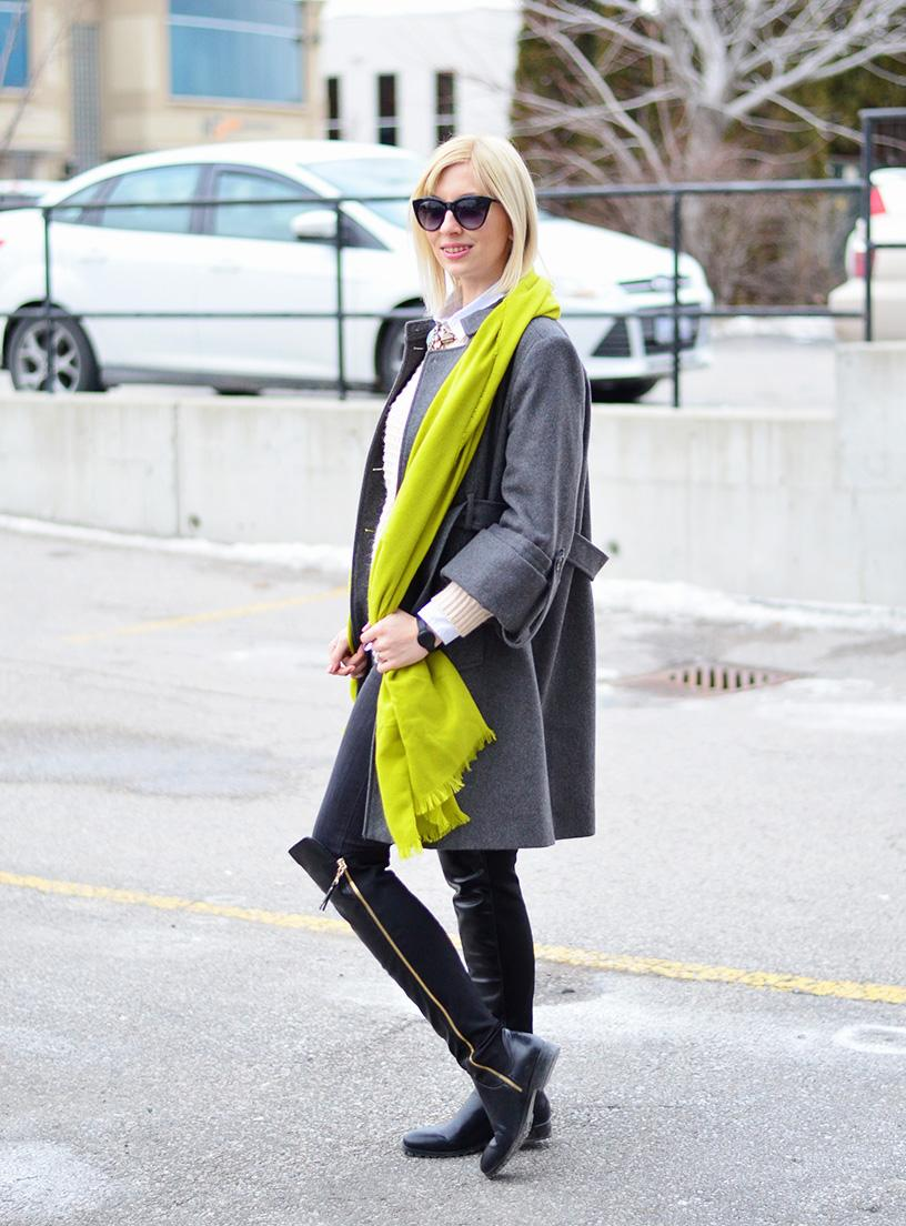 wool coat and scarf style
