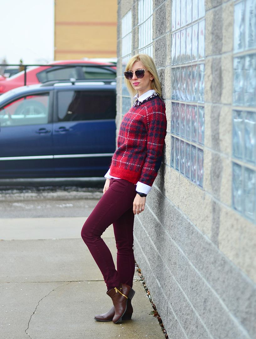 plaid sweater for office