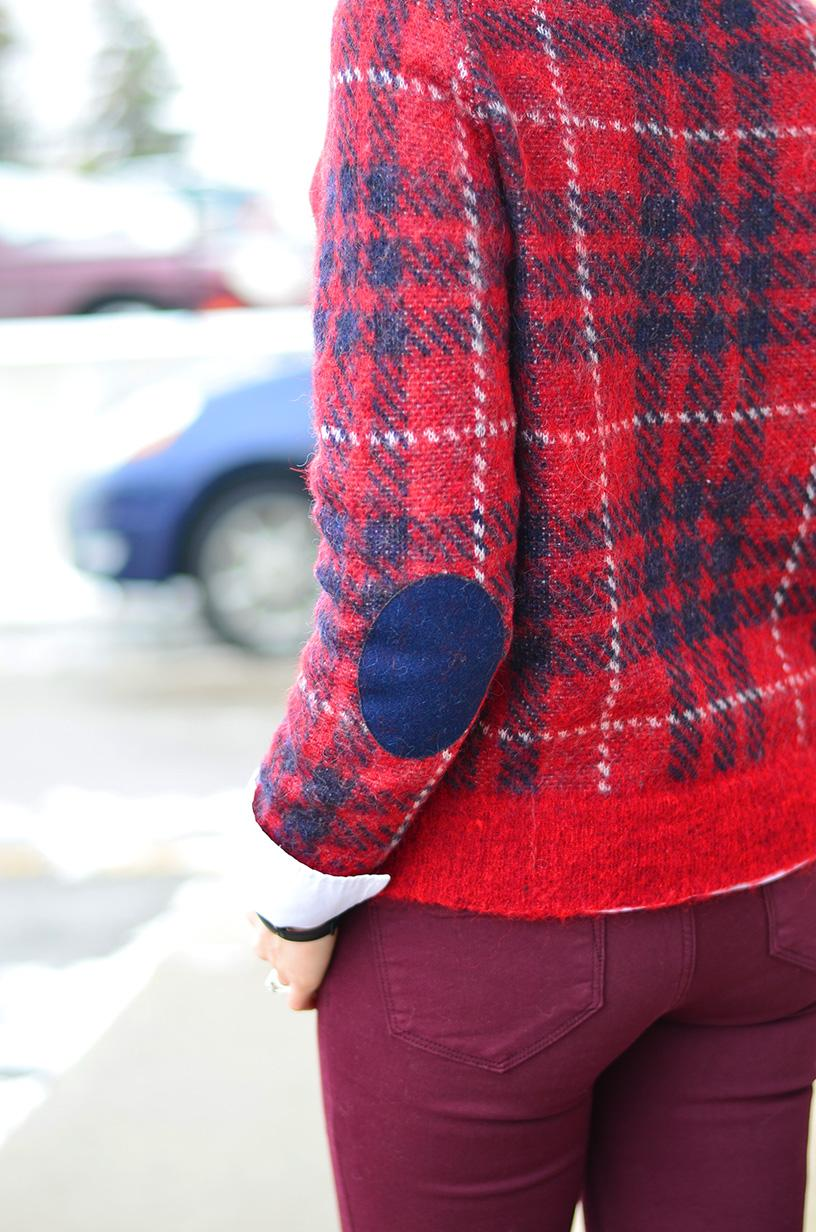plaid elbowpatch sweater