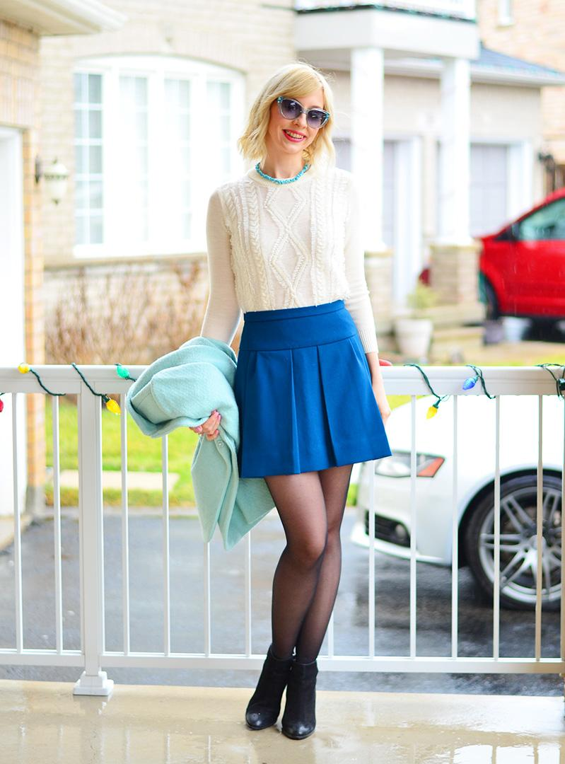 pleated skirt & sweater style