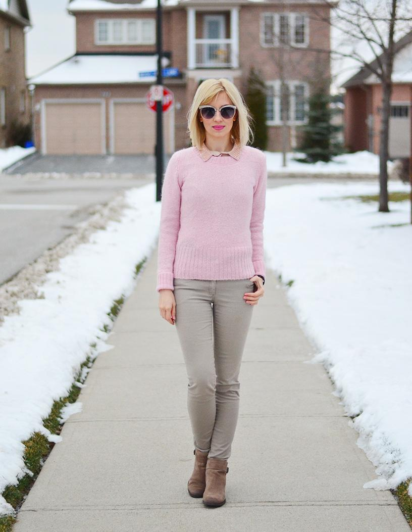preppy pink & nude color outfit