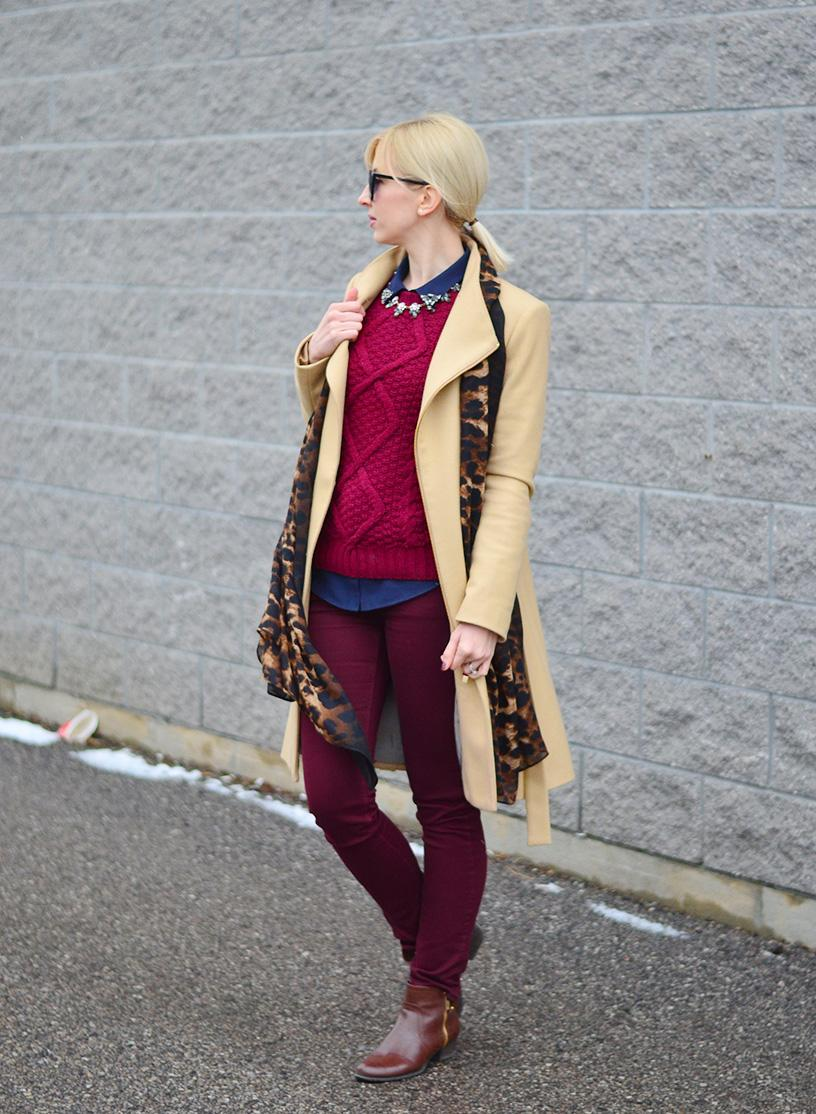 camel coat and leopard scarf