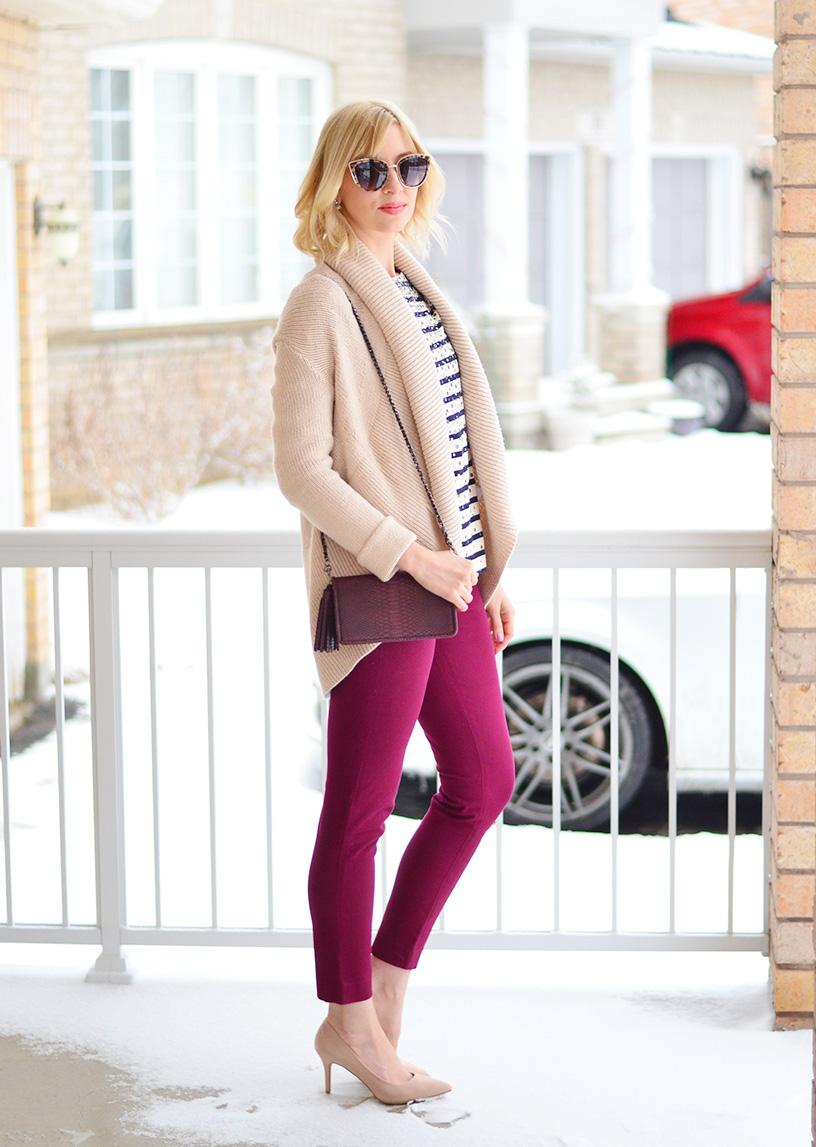 red pants and nude pumps style