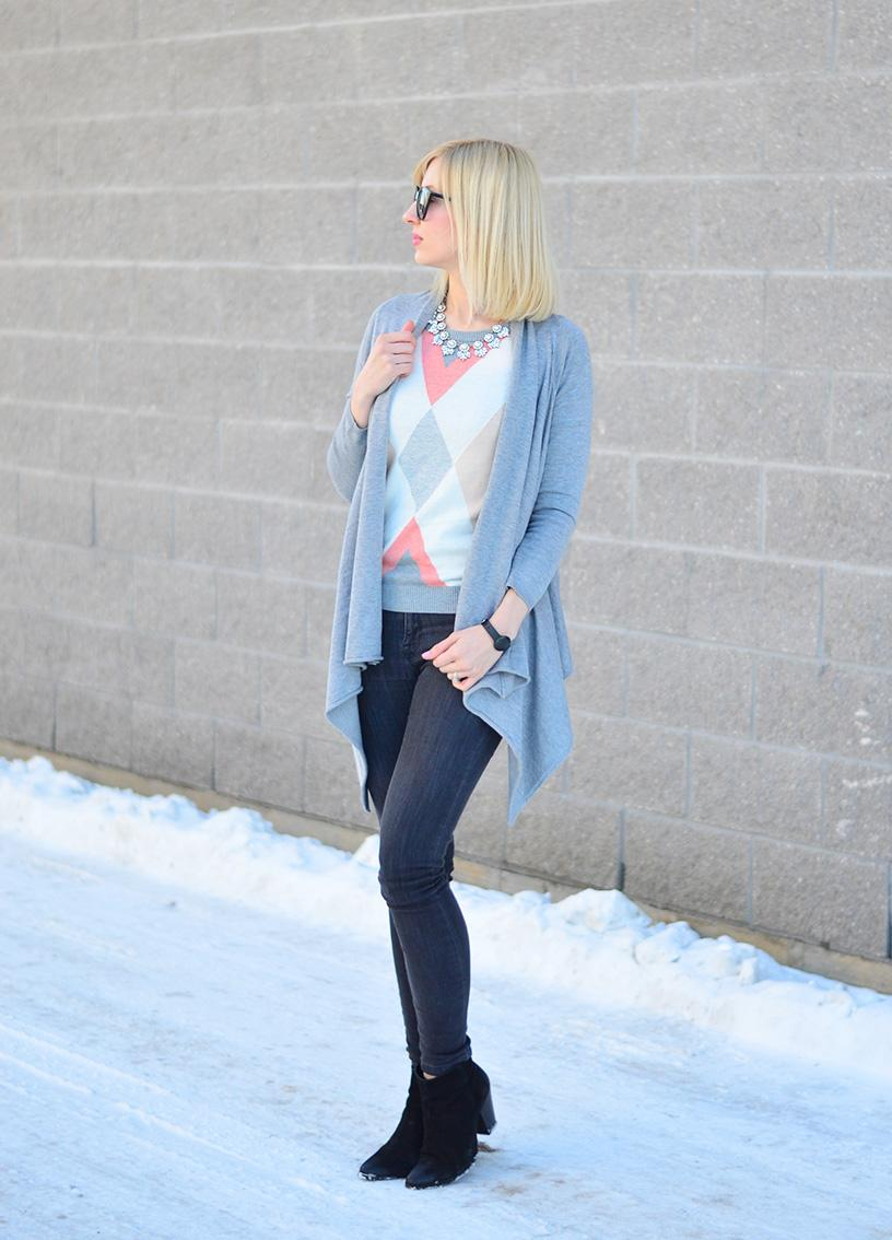 argyle sweater and cardigan style