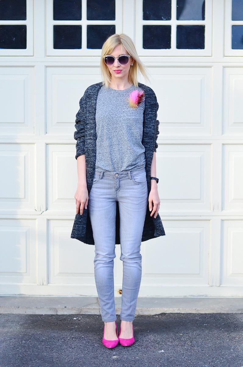 grey jeans and cardigan style