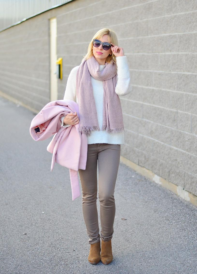 pink and beige outfit