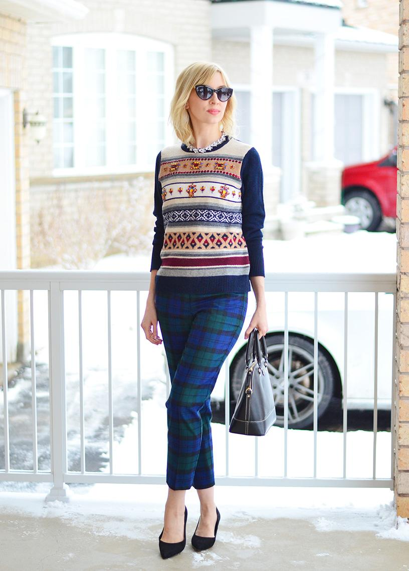 winter plaid pants style