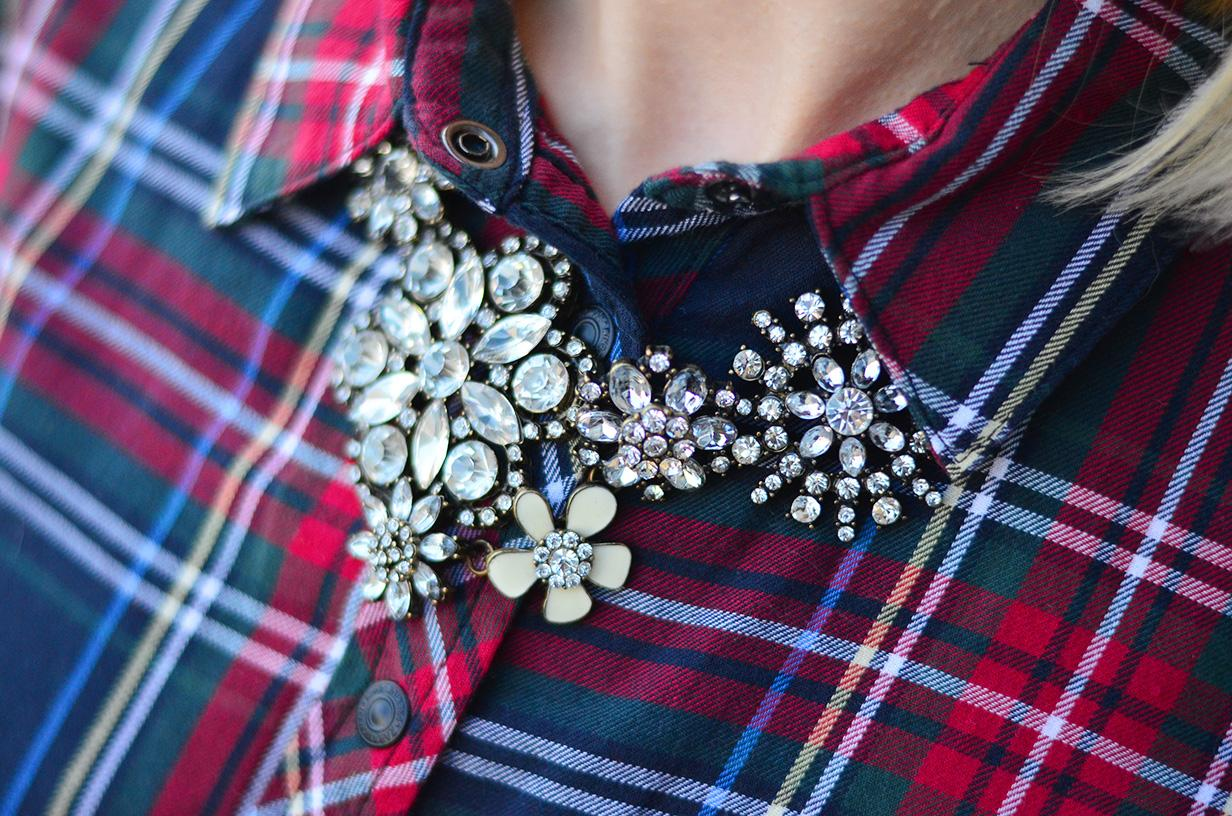 crystal necklace and plaid shirt