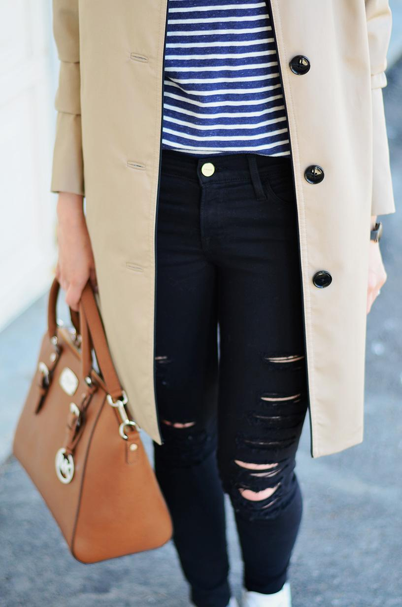 brown satchel & rip jeans