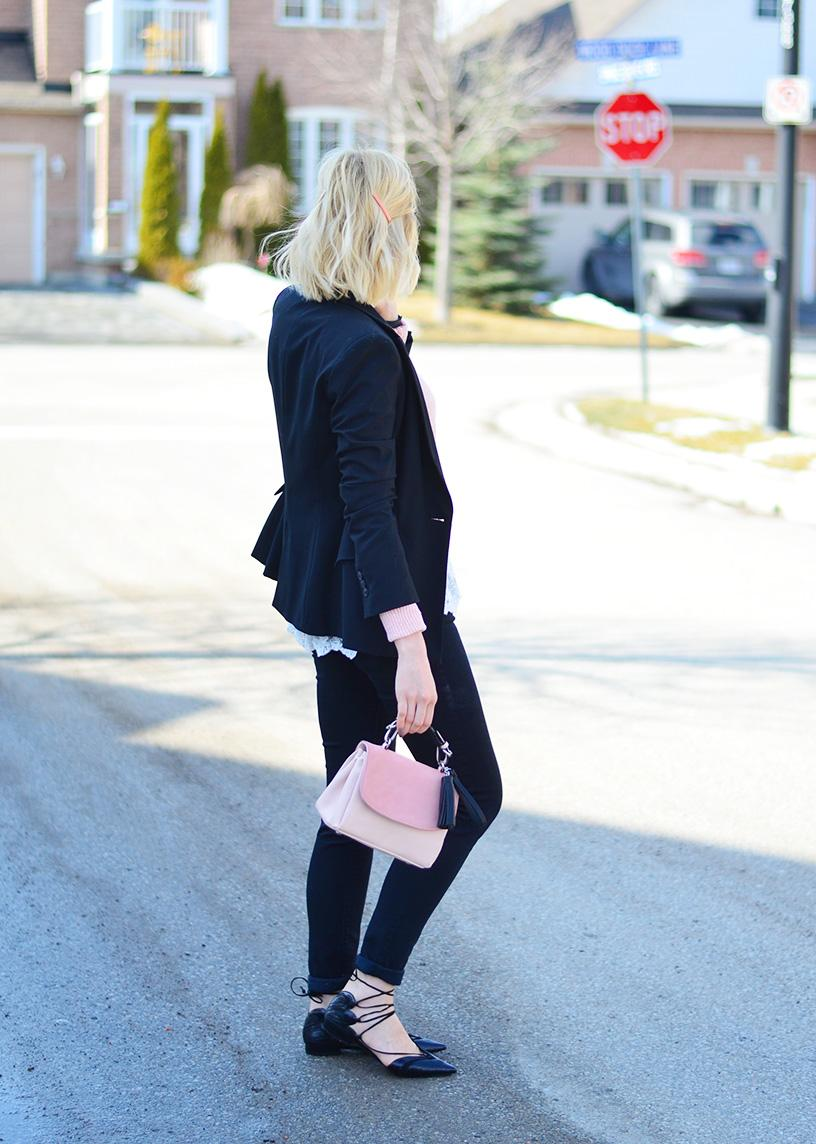 lace up flats & black blazer