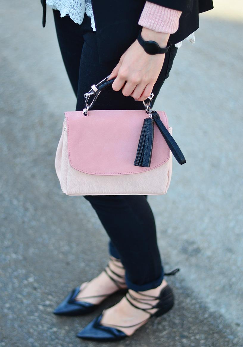 pink suede bag & lace up flats