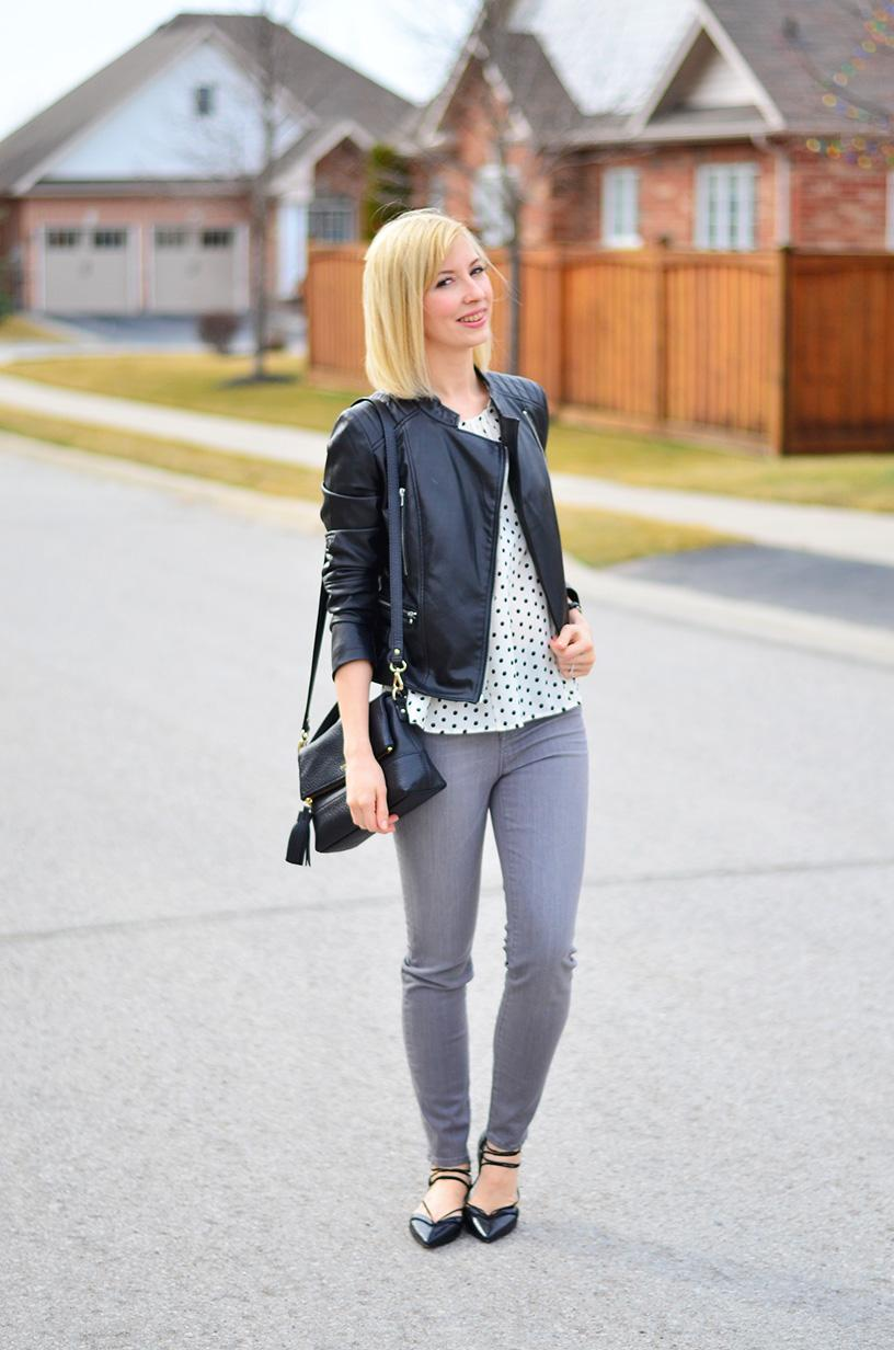 high rise grey jeans
