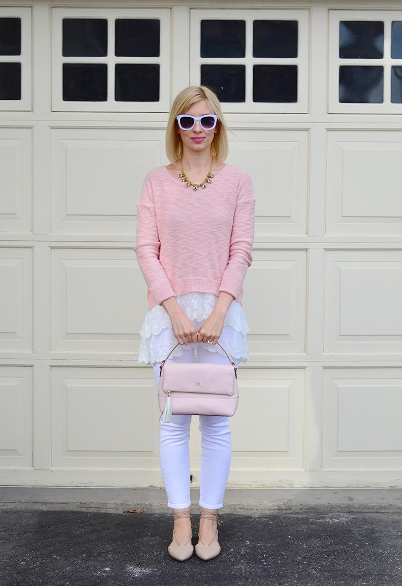 lace hem sweater top & white jeans