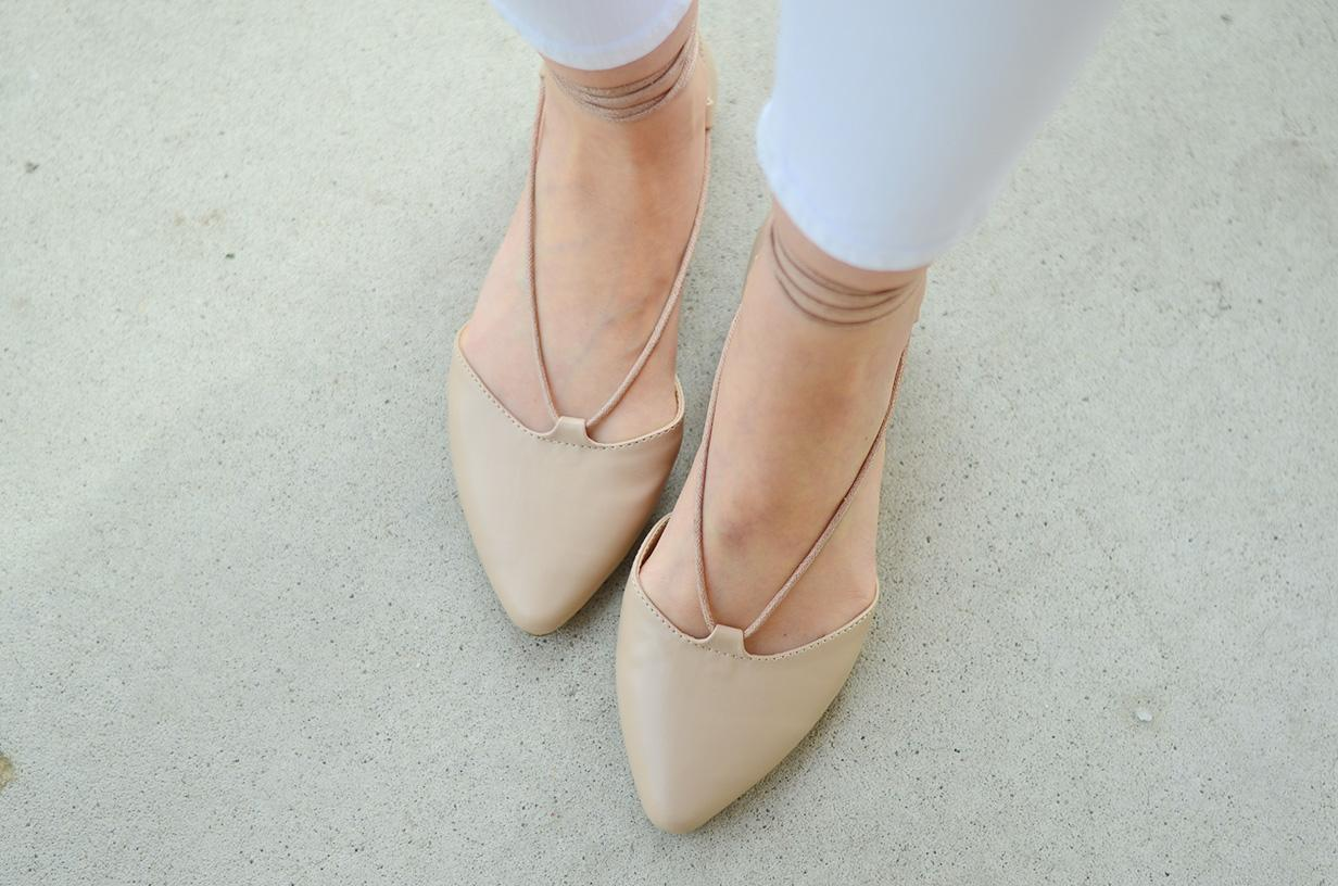 nude lace up flats