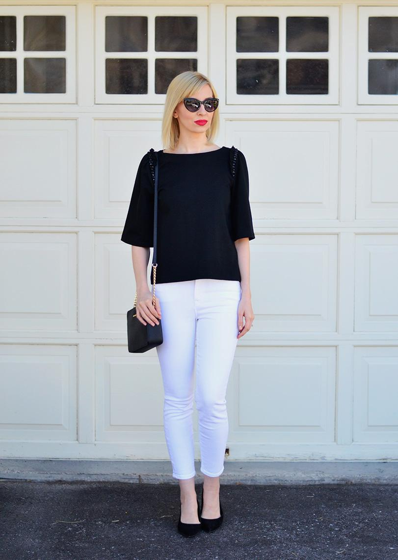 black top & white jeans style