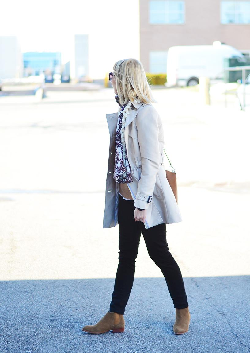 suede boots & trench coat style