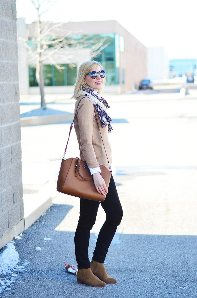brown sweater & suede boots style