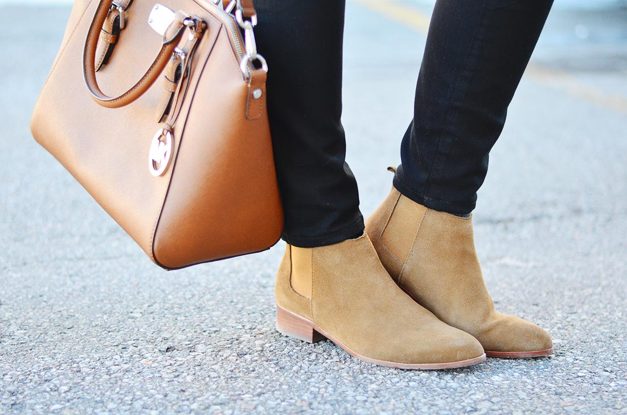 suede boots & brown bag