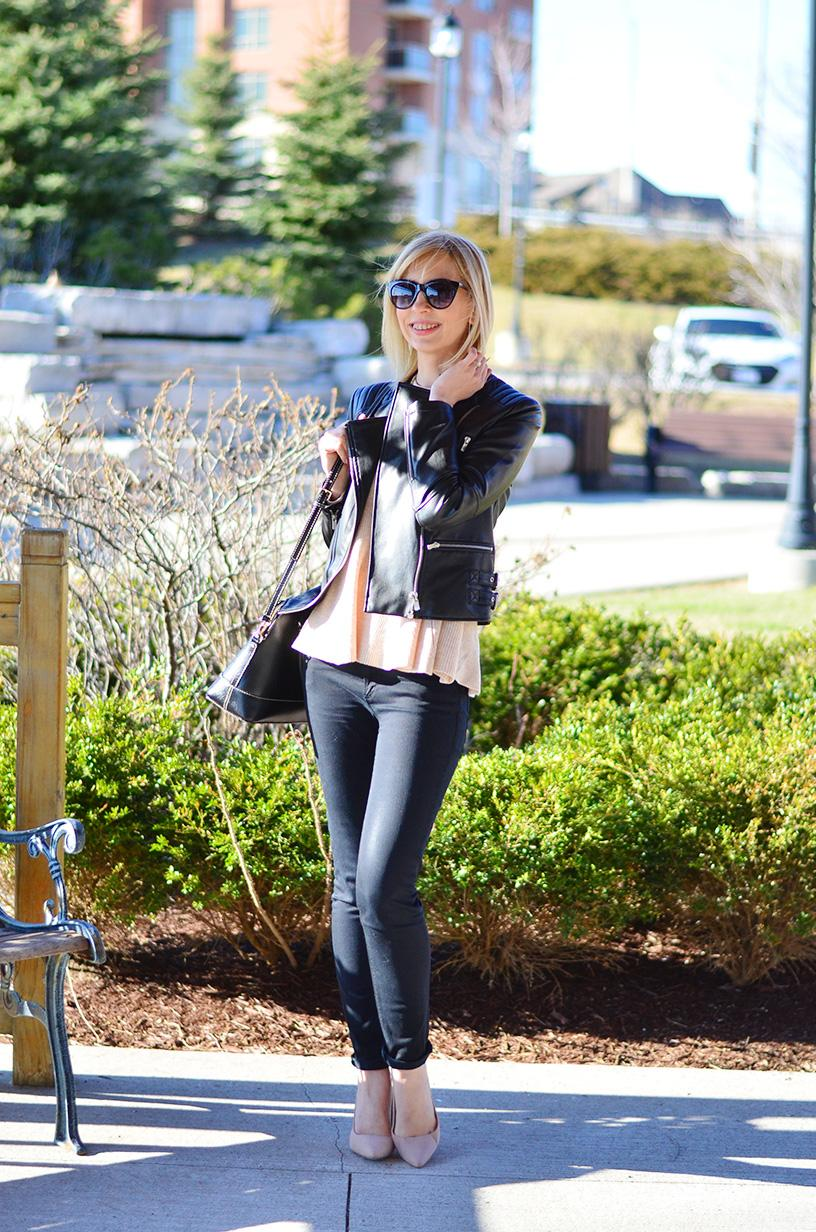 frill jumper & leather jacket style