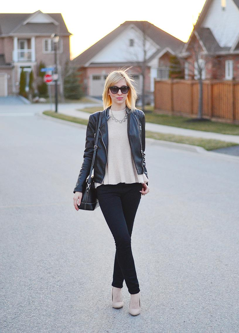 leather jacket & frill jumper