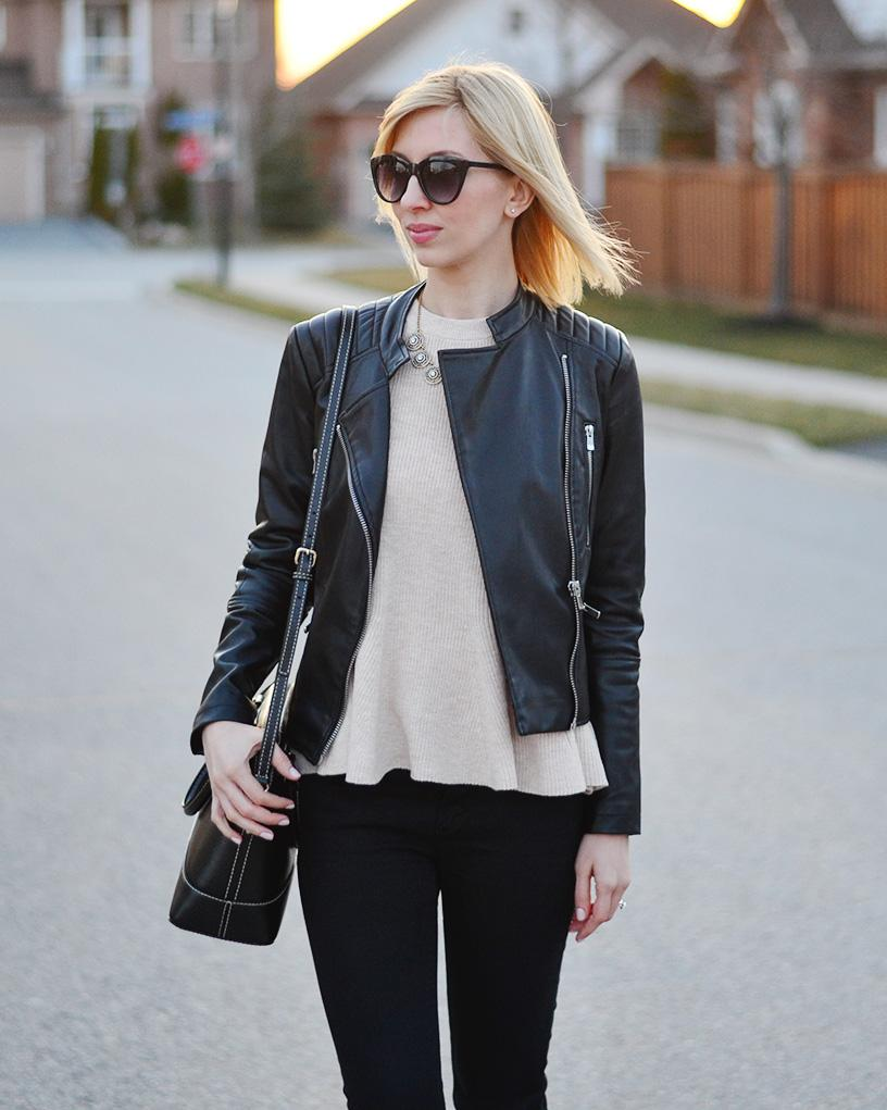 frill top & leather jacket style