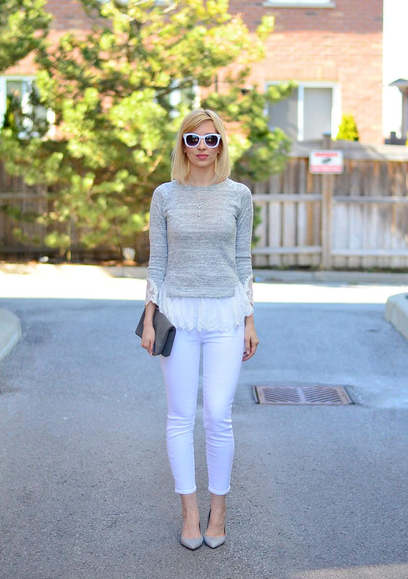 lace fril top & white jeans style