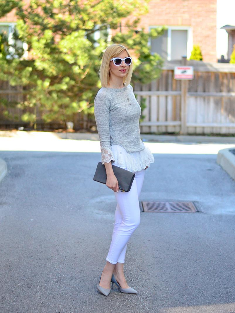 white jeans & lace fril top