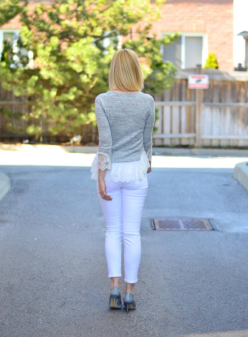 lace fril top & white jeans
