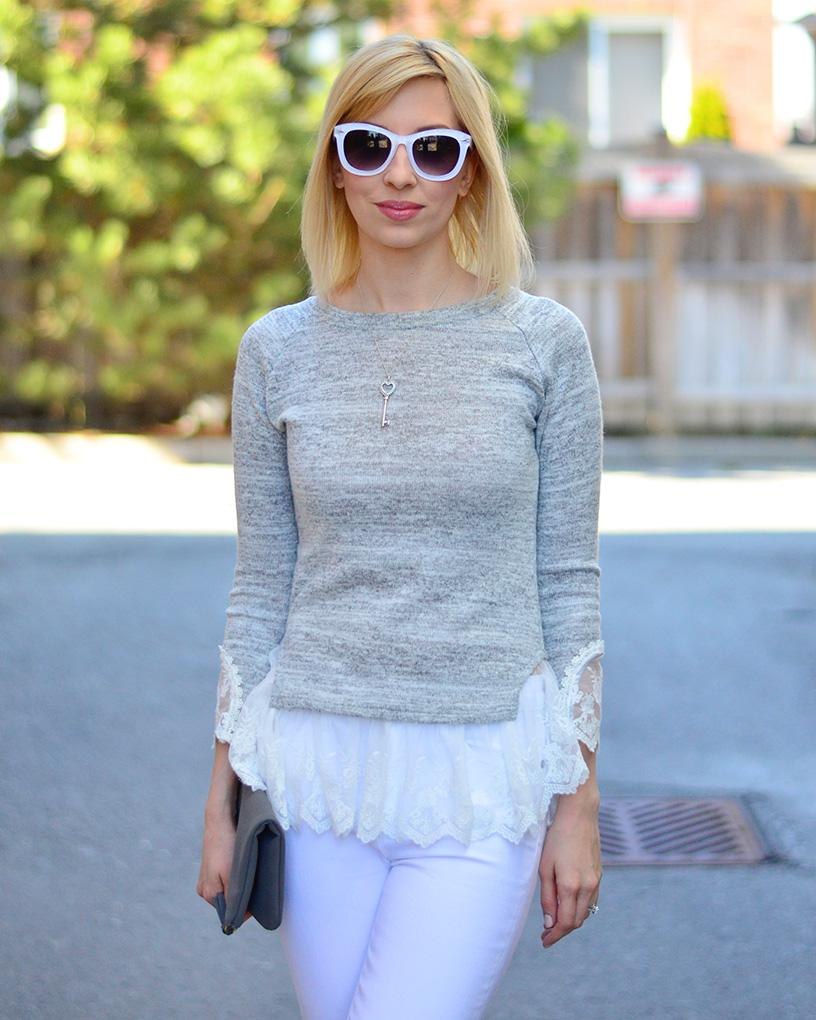grey lace fril top style