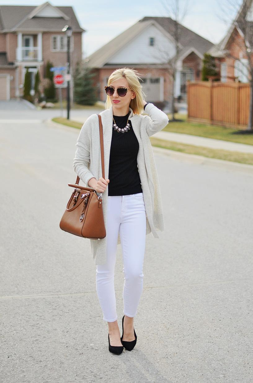 long cardigan & white jeans for spring