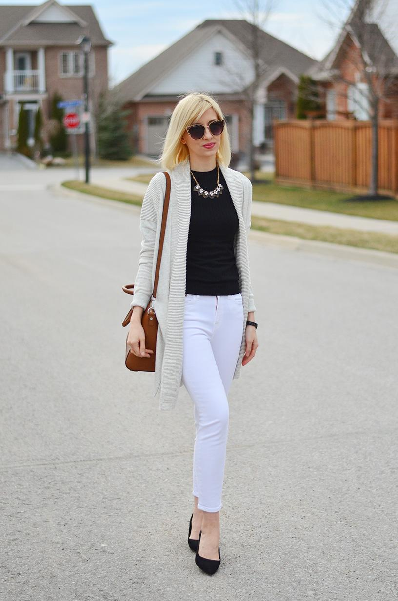 white jeans & long cardigan