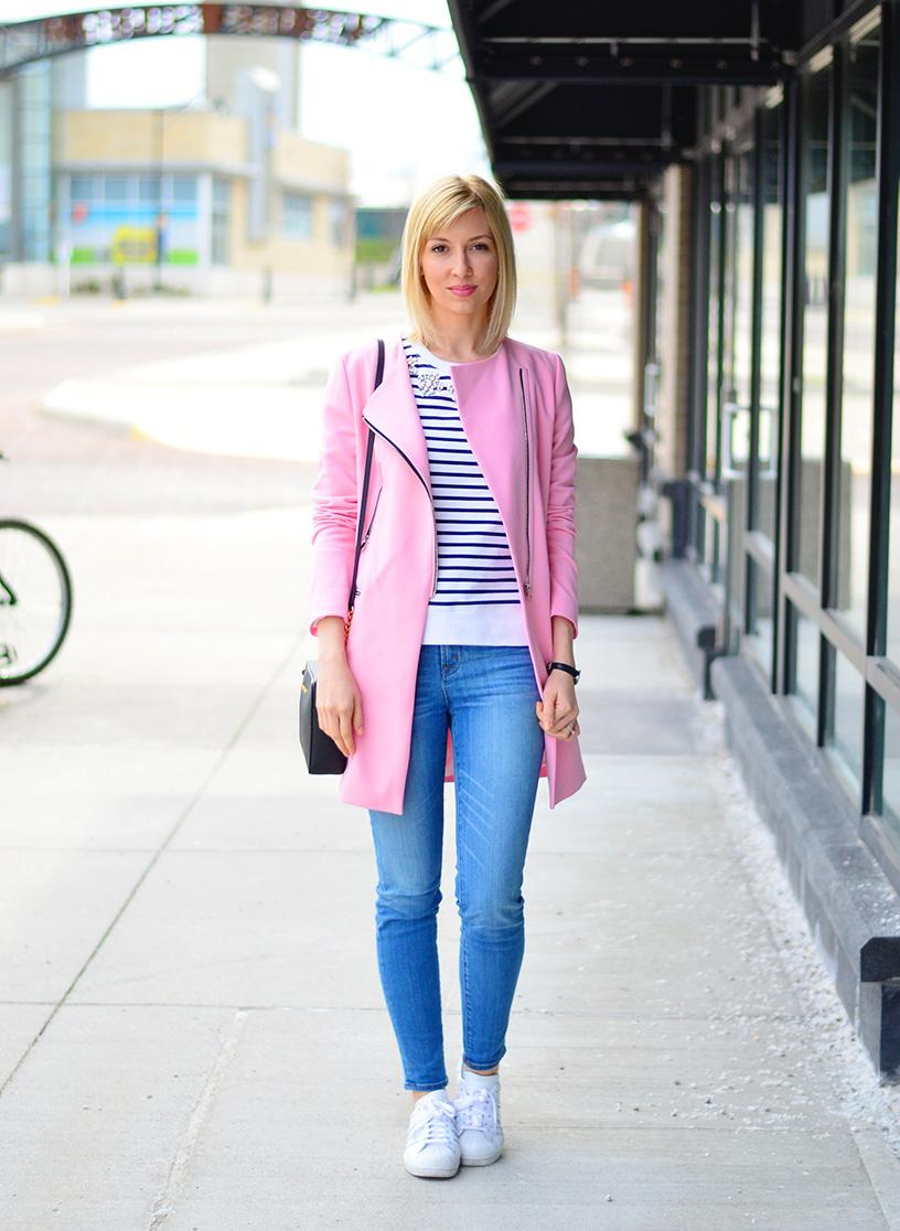 long pink coat spring style