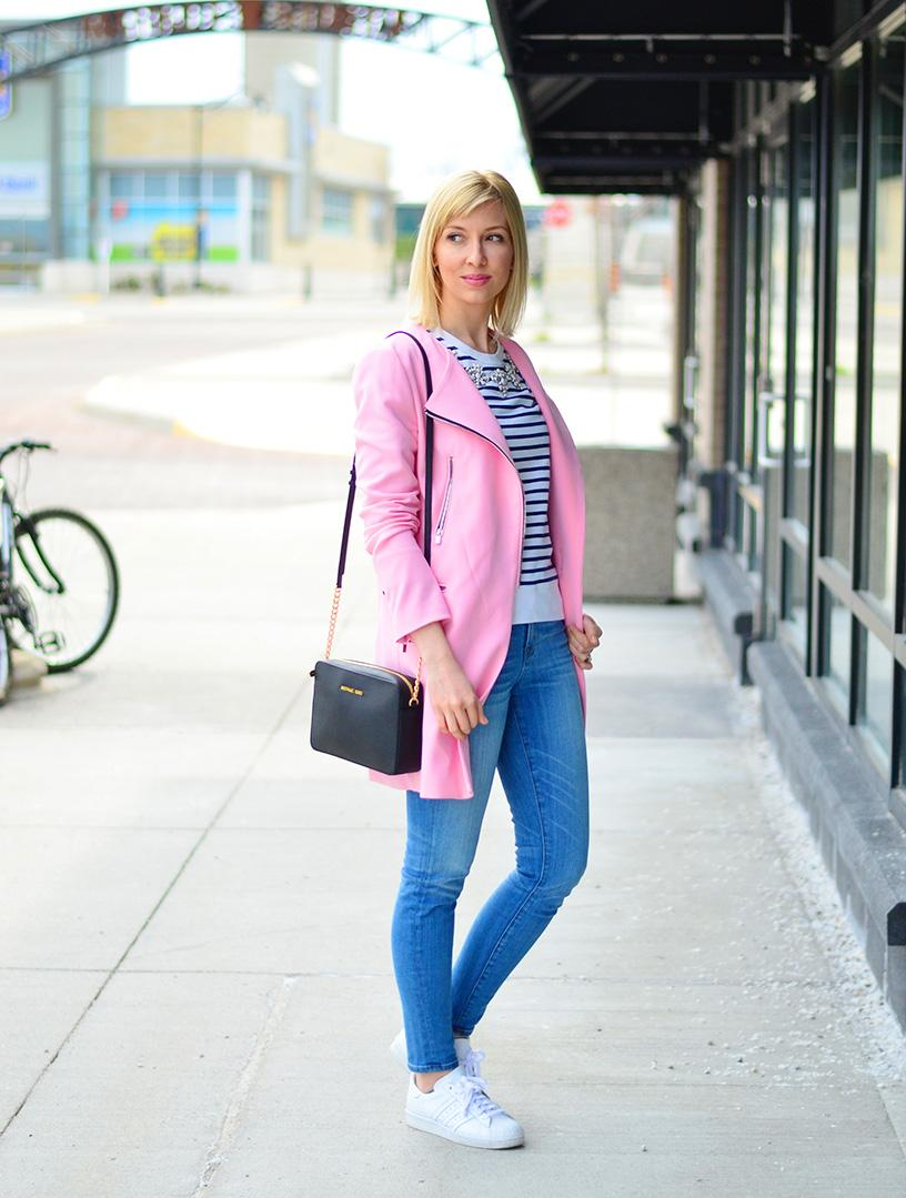 pink coat for spring style