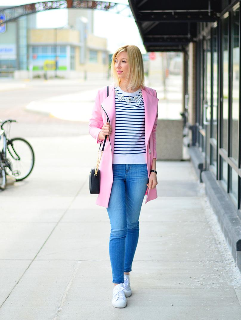 stripe top & pink coat fo spring
