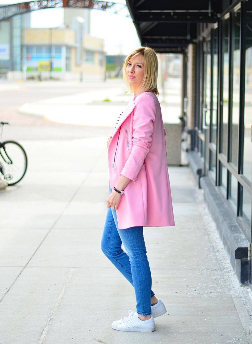 long pink coat style