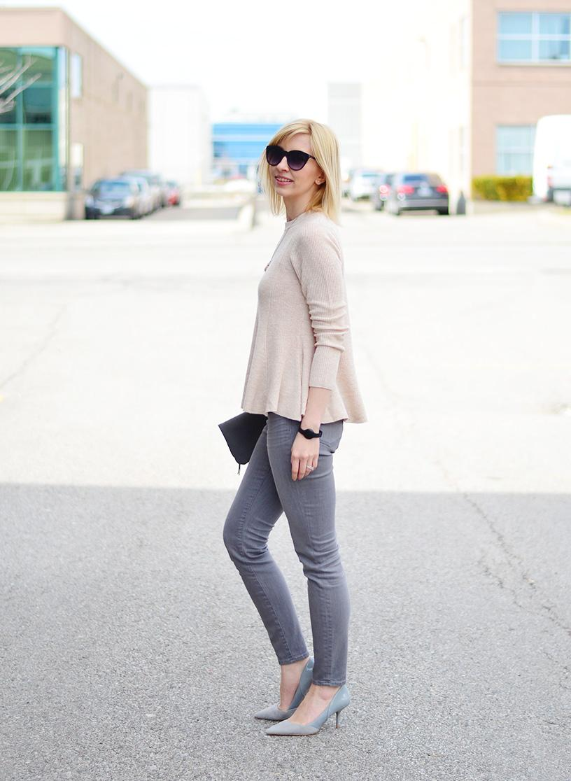 grey high rise jeans