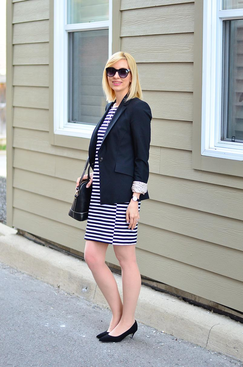 Striped T-shirt dress & black blazer