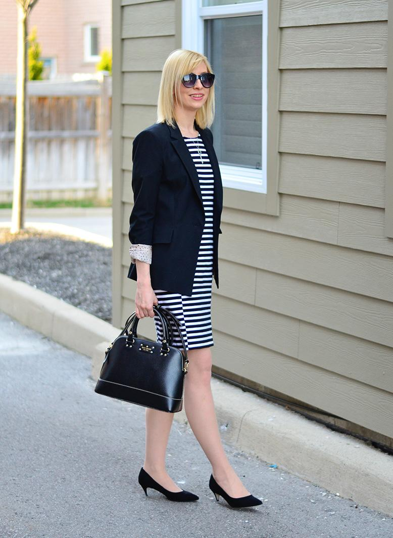 Striped dress & black blazer