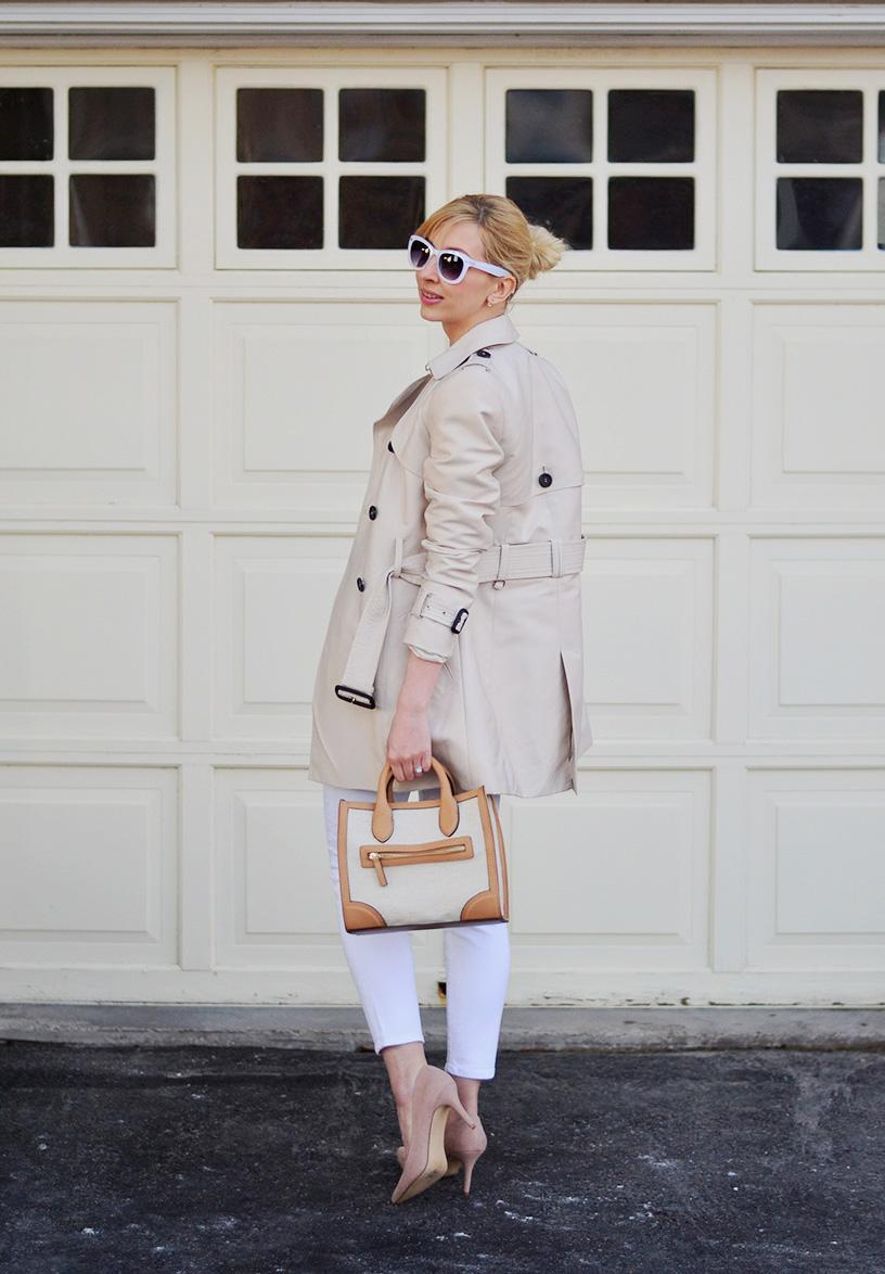 white jeans & trench coat