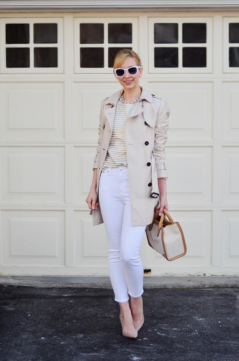 trench coat & white jeans style