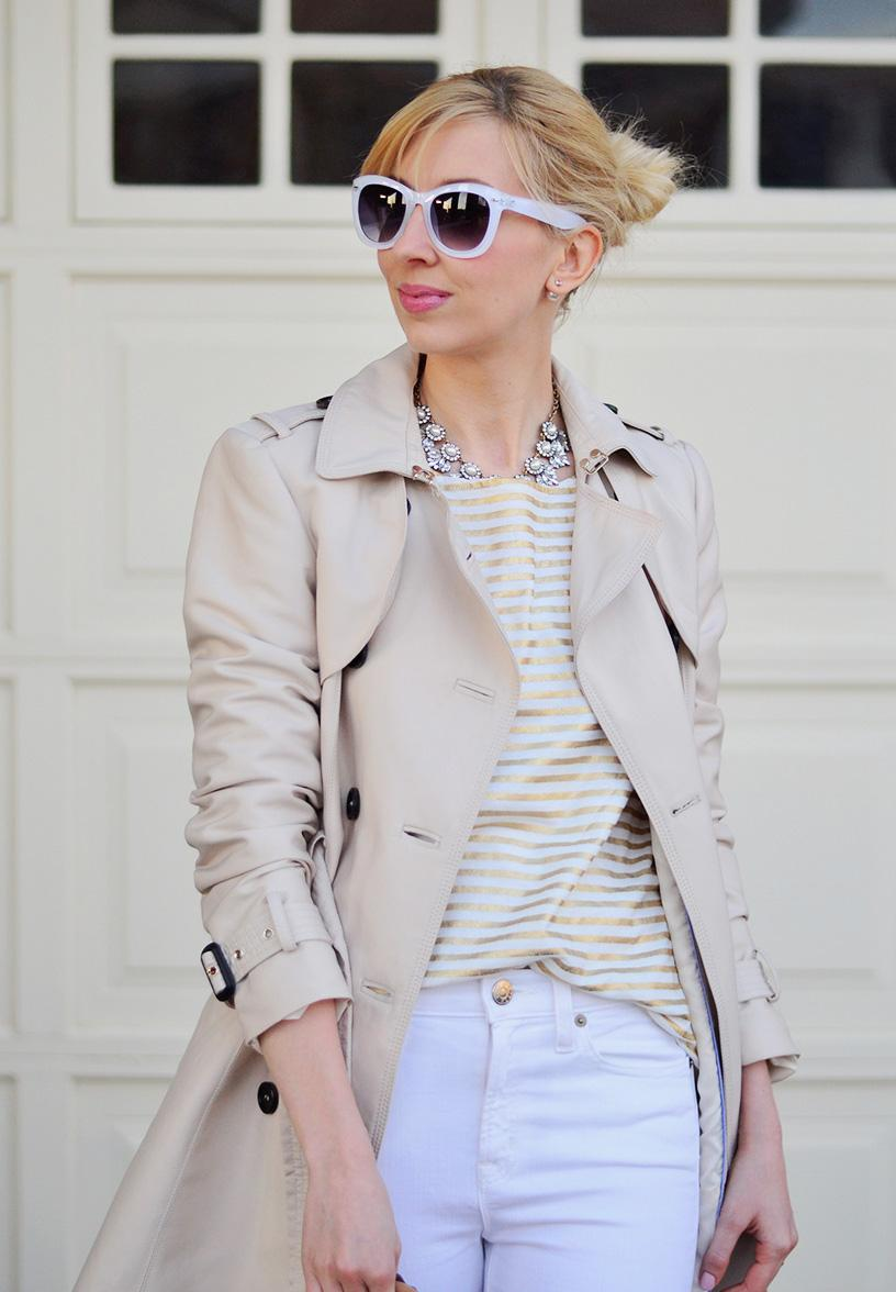 stripes shirt & trench coat style