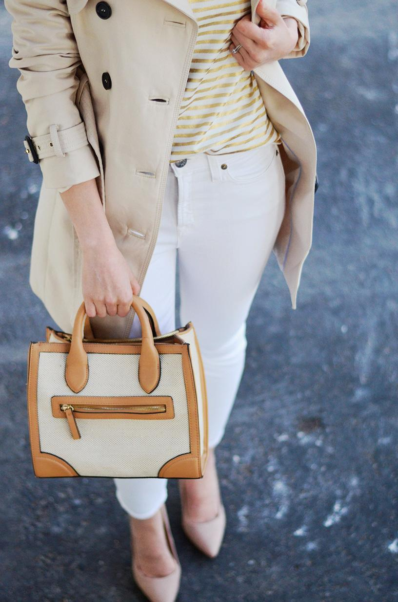 fabric satchel and white jeans
