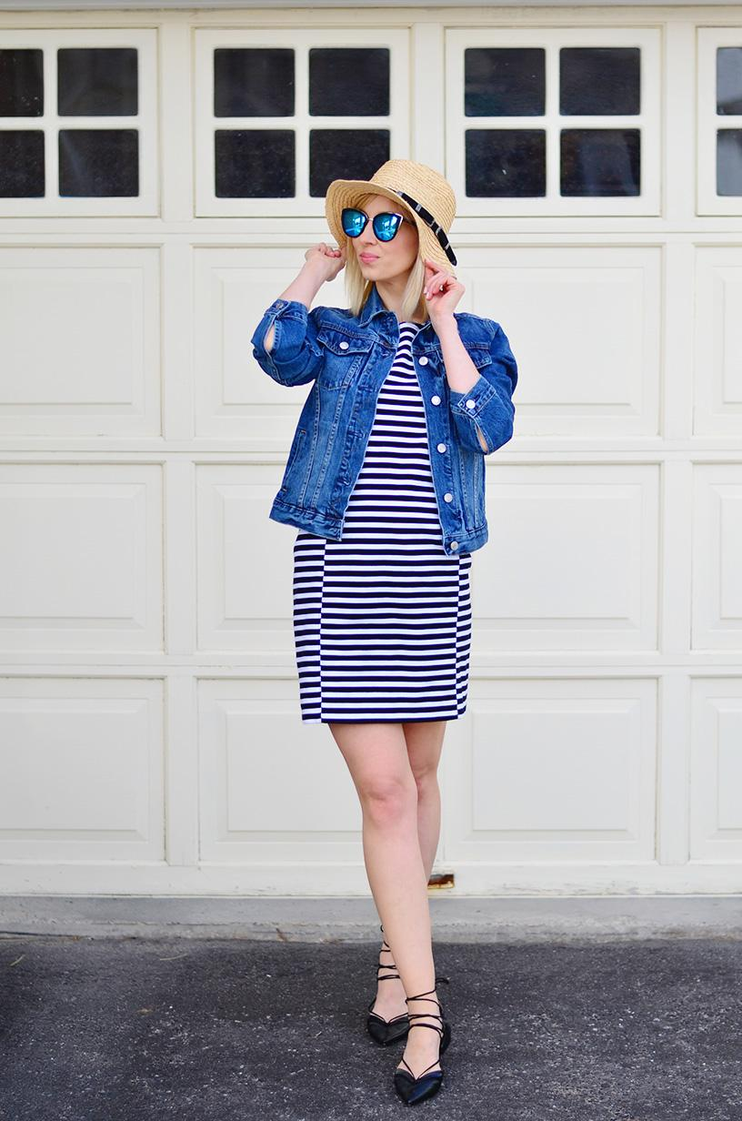 stripe dress & denim jacket