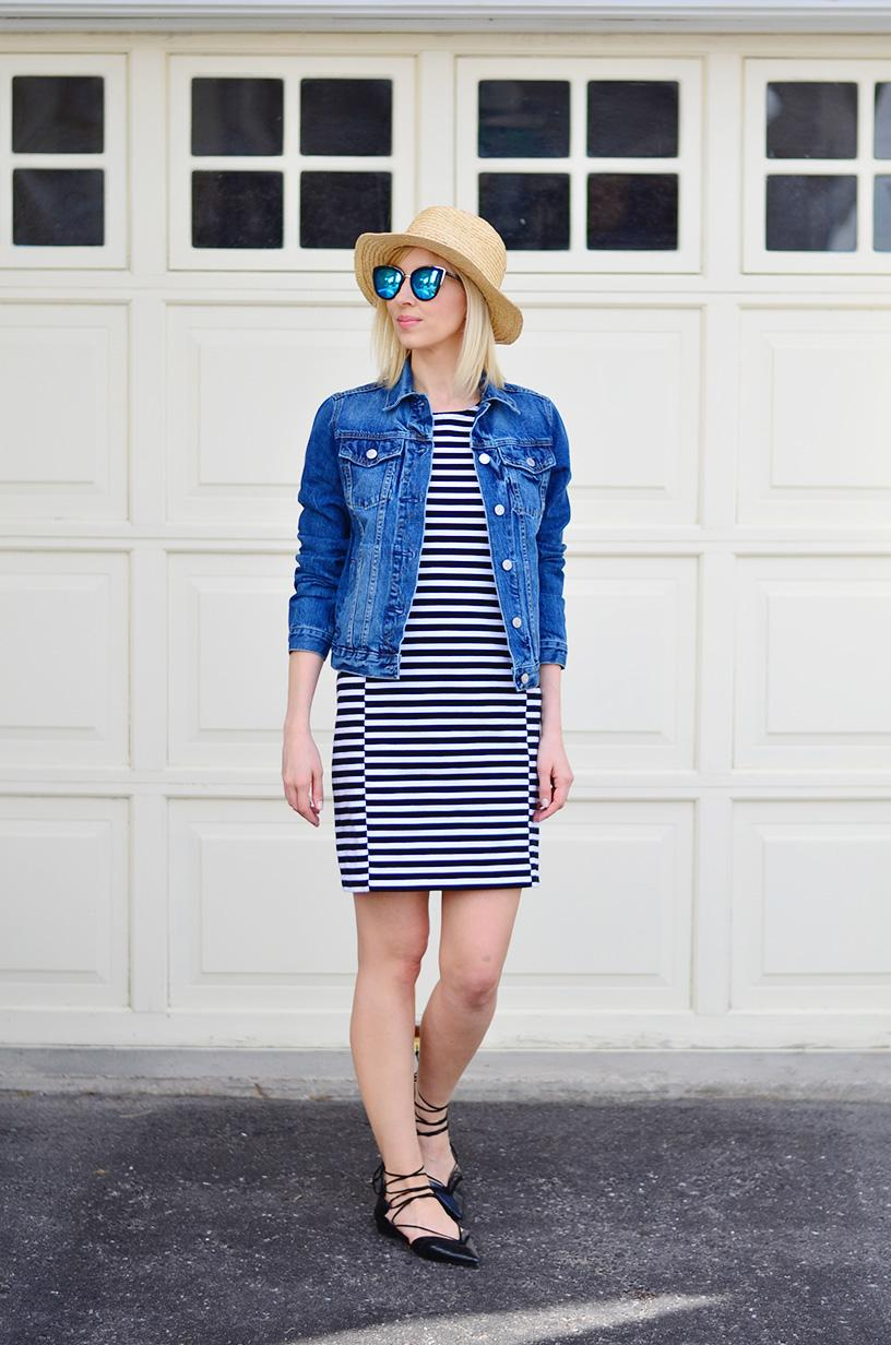 stripe dress & lace up flats