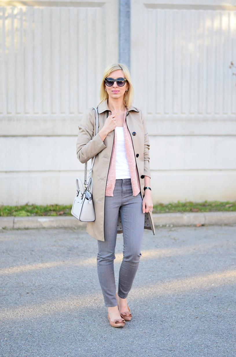 trench coat and high rise jeans style