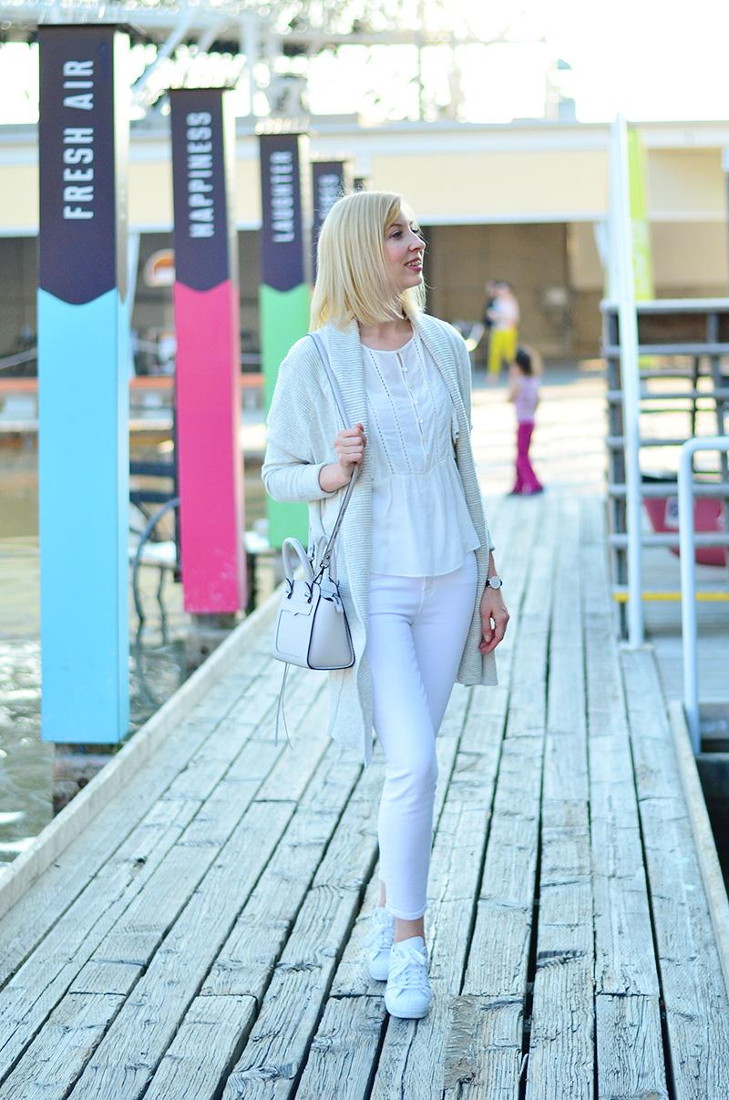 white jeans and beige cardigan style