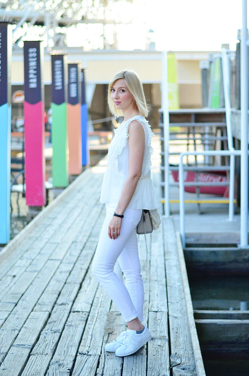 summer white frill top