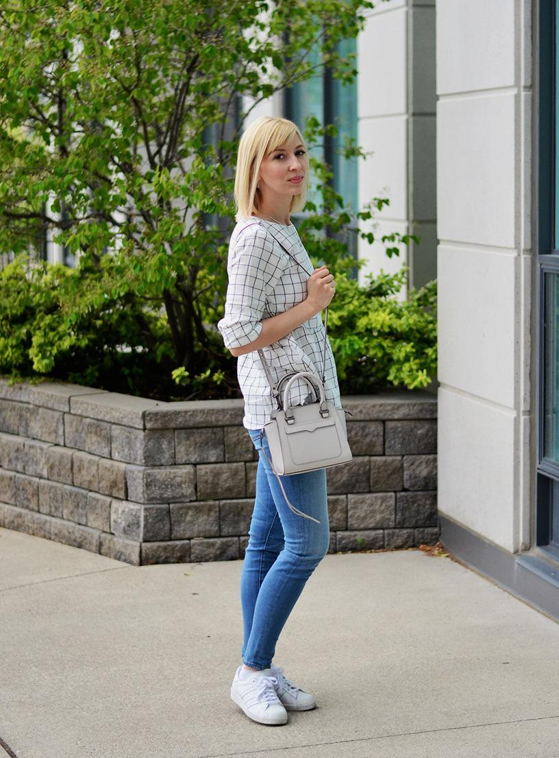 windowpane peplum blouse