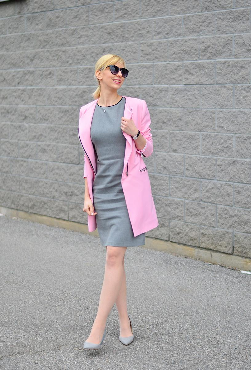 pink coat & pencil dress